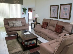 Rest in comfy living set with bulit in recliners and back massagers